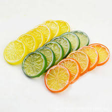 1 10 50 Fake Lemon Slice Garnish Artificial Fruit Faux Food House Kitchen Decor