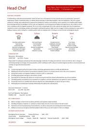 Head Chef Resume Templates Examples Job Description Cooking Rh Dayjob Com Summary Skills