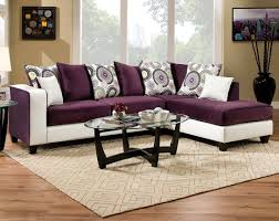 striking two toned couch chaise implosion purple 2 pc sectional