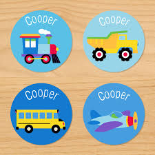 Trains, Planes And Trucks Personalized Round Kids Waterproof Labels ...