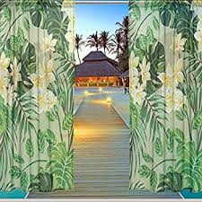 Tropical Window Art Curtains by Amazon Com Alaza Window Sheer Curtain Panels Christmas Decoration