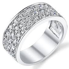 Sterling Silver Mens Wedding Band Engagement Ring With Cubic