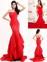 red evening dress mermaid inspired by emmy awards milanoo com
