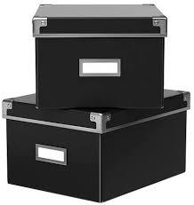 ikea aufbewahrungsbox kassett 2er set regalkisten mit deckel und etikett bxtxh 21x26x15cm dvd format schwarz