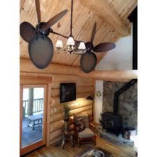 rustic ceiling fan w antler chandelier style light