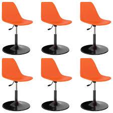 drehbare esszimmerstühle 6 stk orange pp