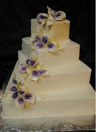 elegant calla lily wedding cakes with purple flowers Google Search