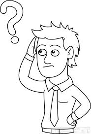 People Clipart man with question mark outline black white clipart