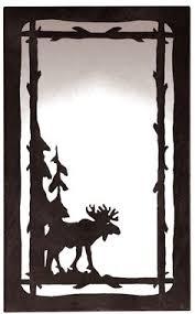Moose Pine Tree Scenic Vertical Wall Mirror 25 X 15 Rustic Cabin Lodge