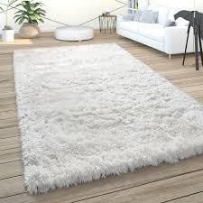 hochflor teppich wohnzimmer shaggy pastell einfarbig weich flauschig creme weiß