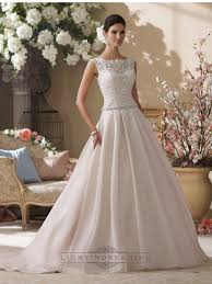 illusion and scalloped lace bateau neckline a line wedding dresses