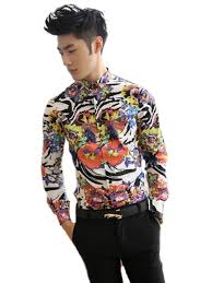 xtx men u0027s hip hop floral casual long sleeve slim fit dress shirts
