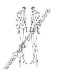 005 Female Fashion Design Croqui Template Three Quarter Front Pose