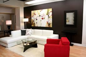 apartments minimalist living room decor ideas with white and red