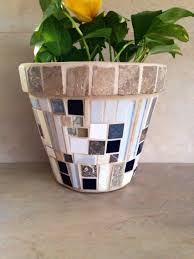 Mosaic Planter Large Flower Pot Indoor Glass Outdoor Plant Storage Kitchen
