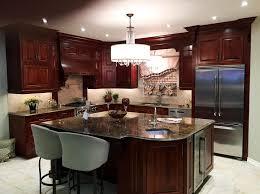 ile cuisine suspension conique fantaisie île de bois armoire cuisine en brun