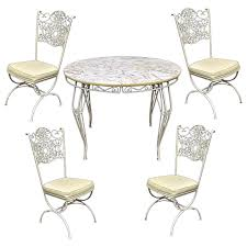 Wrought Iron Woodard Andalusian Patio Sunroom Dining Set Table Four Chairs