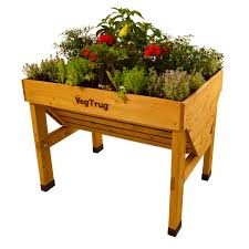 Details About Home Patio Wooden Vegetable Planter Elevated Flower Raised Bed Outdoor Garden