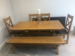 Solis Wood Dining Table Bench And 4 Chairs