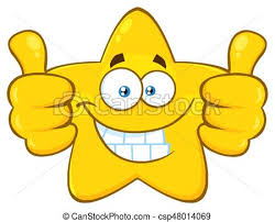 Smiling Yellow Star Cartoon Emoji Face Character Giving Two Thumbs Up