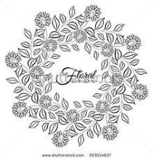Vector Monochrome Floral Background Hand Drawn Ornament With Wreath Template For Greeting Card