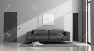 minimalist wohnzimmer mit schwarzen sofa und geschlossene tür 3d rendering