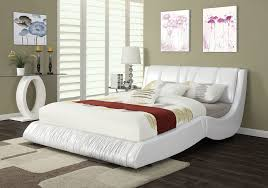 modern nathan white bycast leather queen platform bed