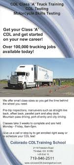 The Colorado CDL Training School In Trinidad, CO Offers Quality ... Truck Bus Driver Traing Union Gap Yakima Wa Cdl Colorado Driving School Denver Trucking Companies That Pay For Cdl In Ohio Best Free 10 Secrets You Must Know Before Jump Into Lobos Inrstate Services Selects Postingscom For Class A Jobs Offer Resource Professional 5 Star Academy 23 Best Infographics Images On Pinterest How To Become A My What Does Stand Nettts New England Tractor Trailer Anyone Work Ups Truckersreportcom Forum 1 Cypress Lines Drivers Wanted Youtube