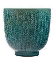 Teal Feather Ceramic Planter