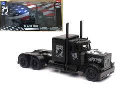 Peterbilt Black Out MIA POW Semi Truck 1/32 Scale By Newray 11643