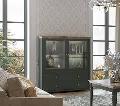 highboard vitrinenschrank vitrine 126cm grün eiche lefkas landhaus