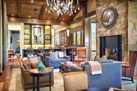 Rustic Living Room Beautiful With Coarse Stone Fireplace And Chandelier Style