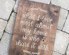 Hand Lettered What I Love Most About My Home Rustic Wood Sign With Laurels Wedding Gift