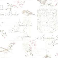 Shabby Chic Wallpaper Birds And Typography Border