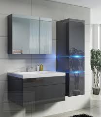 badmöbel set prestige 1 grau hochglanz lackiert keramik waschbecken badezimmer led beleuchtung badezimmermöbel lack spiegelschrank