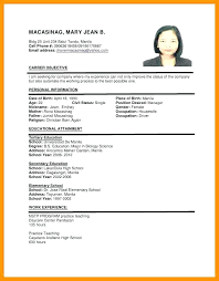 Interesting Resume Sample For In Format Ojt