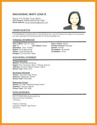 Interesting Resume Sample For In Format Ojt