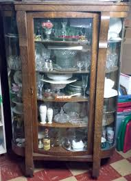 Curved Glass Curio Cabinet Antique by Antiquehaven Ebert Furniture Company China Closet Cabinet