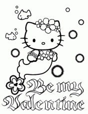 Hello Kitty Mermaid Bubbles And Flower Valentines Coloring Page