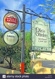 Notices advertising Olive Garden Restaurant in Lassi Kefalonia