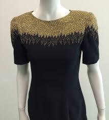 oleg cassini black tie for bergdorf goodman 80s beaded dress size