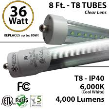 8ft light t8 led 36w 4000lm 6000k clear lens ul ledradiant