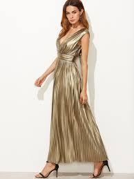 metallic gold deep v neck high waist dress mark u0026 roberts