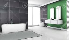 interior design eines modernen und zeitgenössischen badezimmer mit granit fliesen großen fenstern und sauberen weißen boden 3d rendering