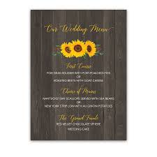 Rustic Sunflower Barn Wood Custom Wedding Menu