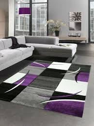 designer teppich wohnzimmerteppich karo lila grau creme