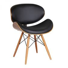 Armen Living Barrister Chair by Living Cassie Mid Century Dining Chair In Walnut Wood And Black Pu