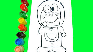 How To Draw Doraemon Coloring Book With Watercolor Paint For Kids Adults
