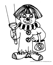 Halloween Clown Costume Coloring Page