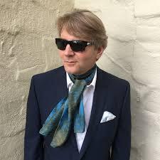 silk scarf for women or men in royal blue brown bronze u0026 white